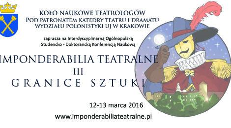 12-13.03 sesja naukowa Imponderabilia Teatralne w Krakowie